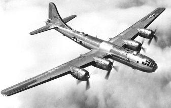 Un B-29 Superfortress en vuelo.