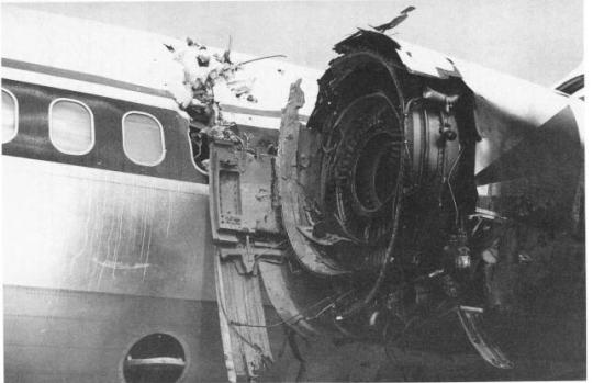 Daños provocados en el motor del vuelo 1288 de Delta
